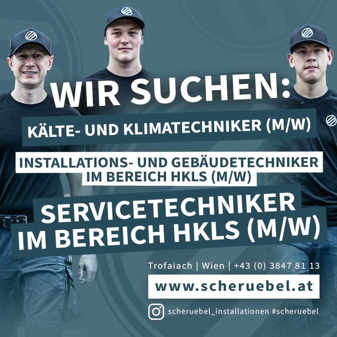Jobs, Karriere, Wir suchen Kälte- und Klimatechniker (M/W), Installations- und Gebäudetechniker im Bereich HKLS (M/W), Servicetechniker im Bereich HKLS (M/W)